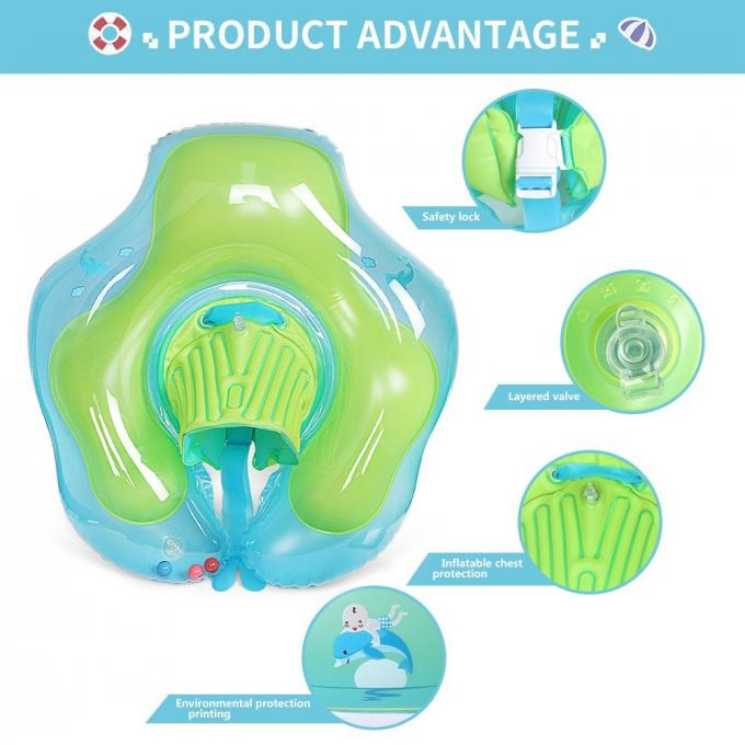 U-shape Under Arm Infant Inflatable Swim Ring PVC Pool Float For 2-6 Years Old Blue