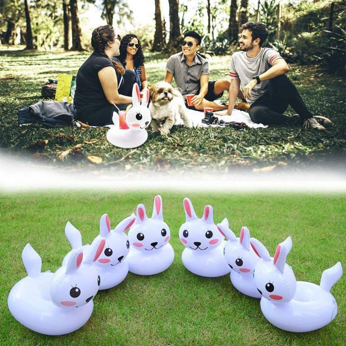 Cute Rabbit Plastic Inflatable Drink Holder Cup Coaster For Kids Toys / Party Decorations