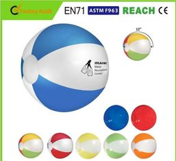 China Logo Print Blow Up Inflatable Beach Ball Customised Color 0.16mm 0.18mm Thickness supplier