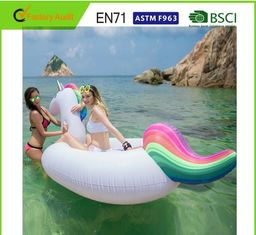 China Light Weight 108'' Rainbow Unicorn Giant Inflatable Pool Float Silk Screen Print supplier