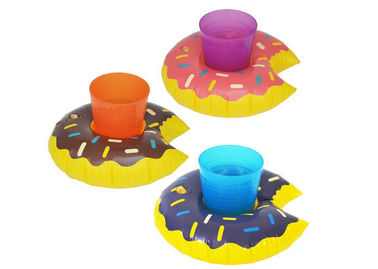 China Donut Inflatable Pool Drink Holders , Floating Beverage Holder 0.18 0.2mm Thick supplier