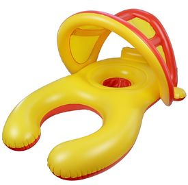 China Mom And Baby Inflatable Swim Ring With Sun Shade Canopy / Bucket Seat PVC Baby Float supplier