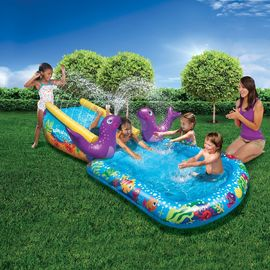 China Heavy Duty Inflatable Water Slides Kid Toddler Outdoor Splash PVC Pool For Ages 2 - 13 supplier