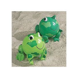 "China PVC Green Frog Beach Toys Inflatable Animal Beach Balls 10"" Overall Size Measures 14"" supplier"