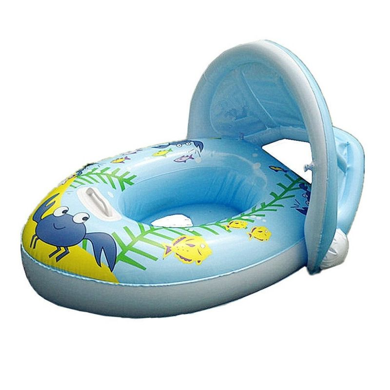 PVC Baby Boat Float Inflatable Swim Ring Kids Water Seat With Canopy ...
