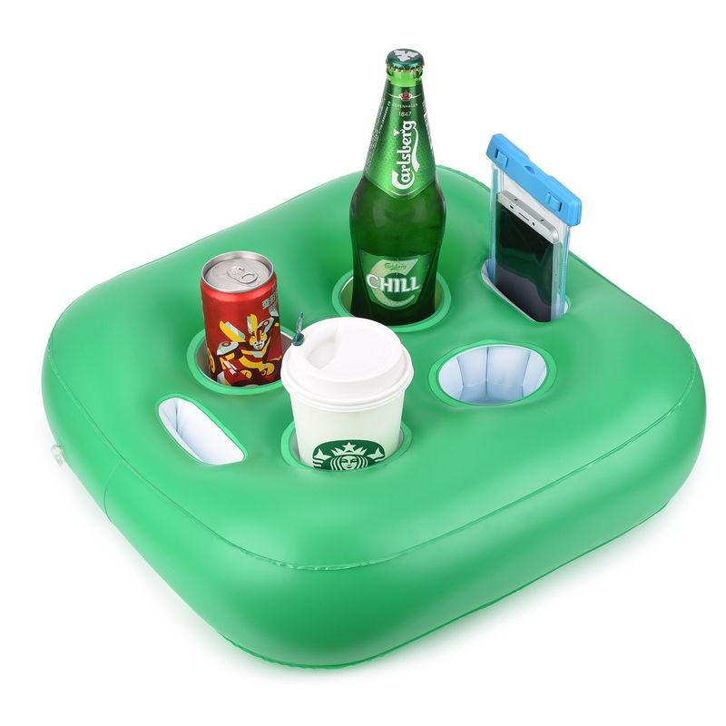 China Green PVC Floating Inflatable Drink Holder With 4 Holes / Floating Beer  Holder Supplier