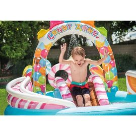 China Inflatable Children Kiddie Spray Wading Swim Pool & Slide For Candy Zone Play Center distributor