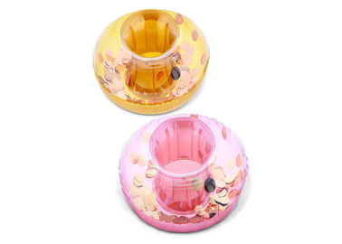 China Heavy Duty Sparkling Circle Confetti Pool Inflatable Drink Holder / Floating Pool Drink Caddy distributor